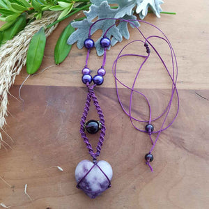 Lepidolite Heart & Glass Beads Wrapped Pendant