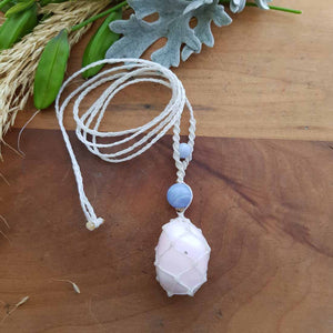 Mangano Calcite & Blue Lace Agate Wrapped Pendant