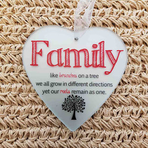 Family Heart Glass Plaque