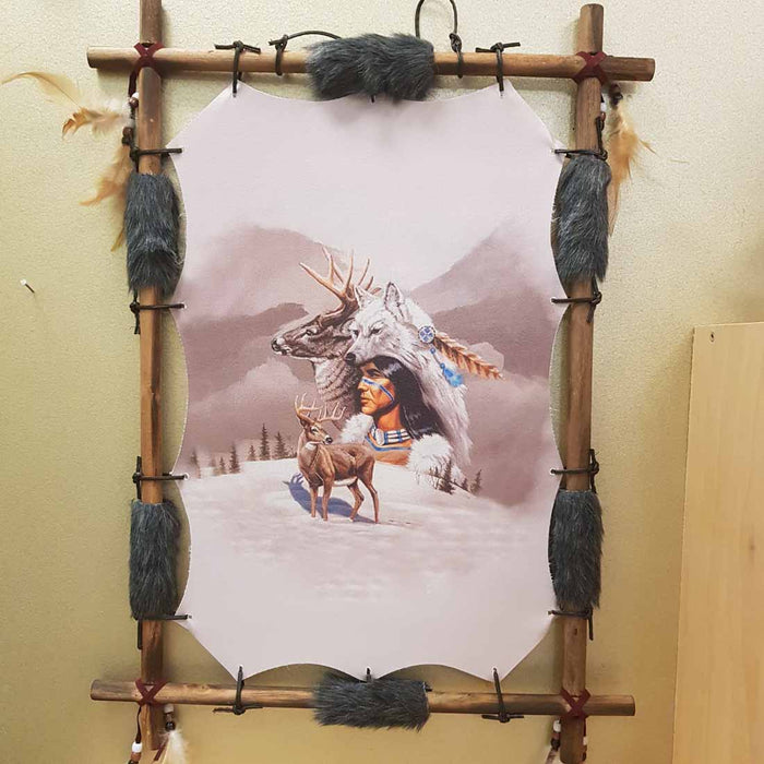 Native American Wolf Spirit Wall Art (approx. 56x41x2.5cm)