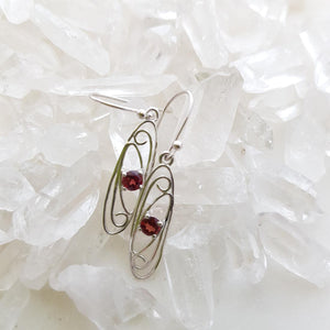 Garnet Filigree Earrings (sterling silver)
