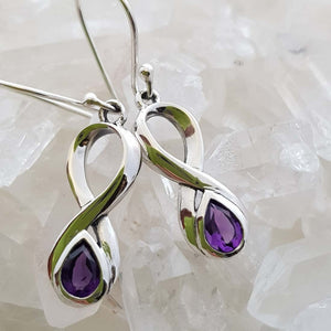 Amethyst Infinity Earrings