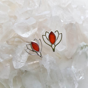 Carnelian Lotus Earrings