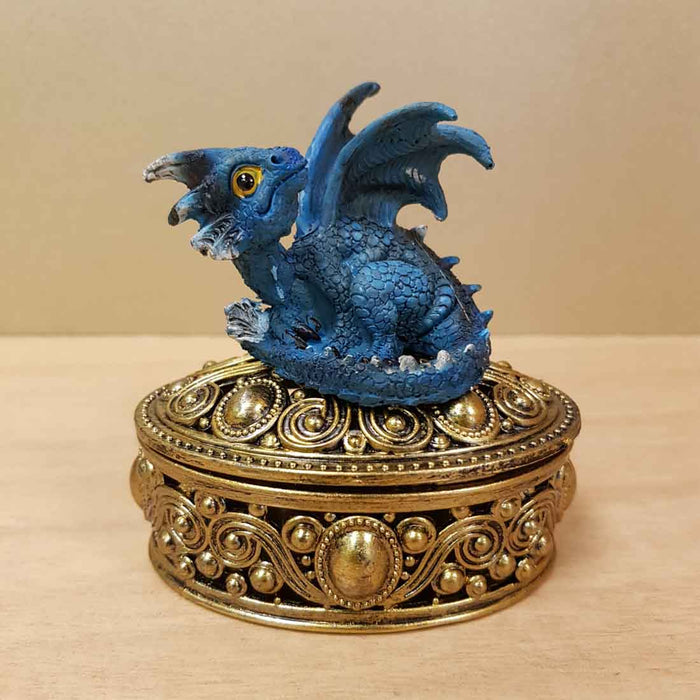 Blue Baby Dragon on Ornate Gold Look Box (approx. 7x9x9cm)