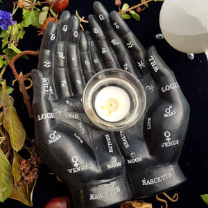 Black Palm Reading Hand with Tealight