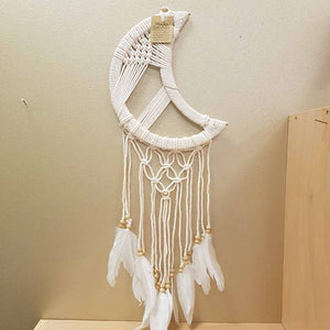 Crescent Moon Cream Macrame Dream Catcher