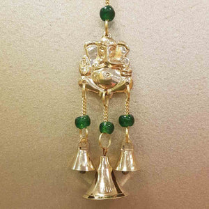 Ganesh Hanging Bells with Green Beads
