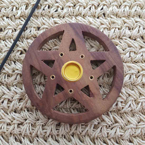 Pentacle Cut Out Wooden Incense Holder
