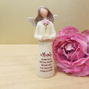 A Mum's Heart Angel with Flowers Figurine