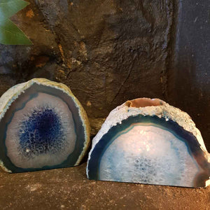 Blue (dyed) Agate Candle Holde