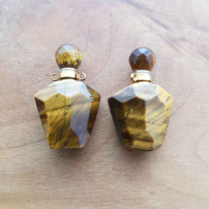 Gold Tiger's Eye Keepsake Bottle Pendant