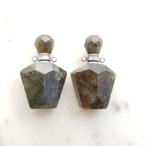 Labradorite Keepsake Bottle Pendant