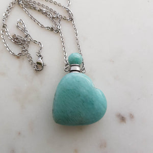 Amazonite Heart Keepsake Bottle Pendant with Chain