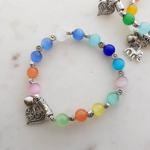 Cats Eye Bead Bracelet with charm