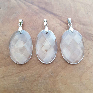 Clear Quartz Faceted Oval Pendant