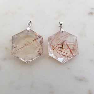 Copper Rutiles in Quartz Faceted Star Pendant