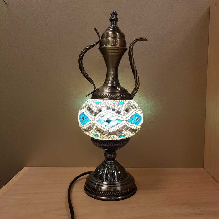 Blue and White Coffee Pot Turkish Style Mosaic Lamp (approx. 38x14x14cm)