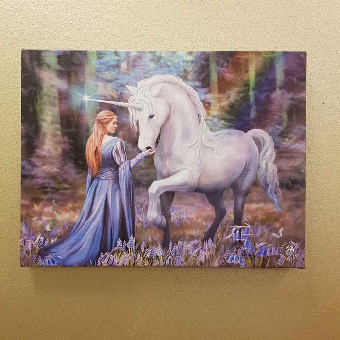Bluebell Woods, Goddess & her Unicorn Canvas by Anne Stokes (approx. 25 x 19cm)