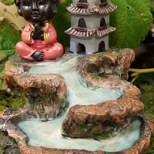 Pink Baby Buddha with Flowing Pond Backflow Incense Burner (approx. 12x12x13cm)
