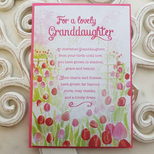 For A Lovely Granddaughter My Cherished Granddaughter, From Your Birth Unitl Now Card