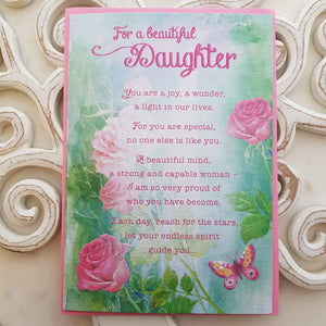 For A Beautiful Daughter You Are A Joy, A Wonder, A Light In Our Lives Card