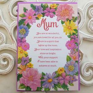 Mum You Are So Wonderful, You Are Loved For All You Do Card