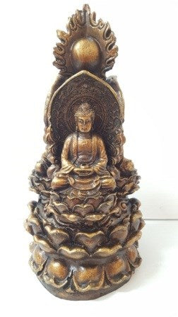 Bronze Look Buddhas on Lotus Leaves. (approx. 13x13x25cm)