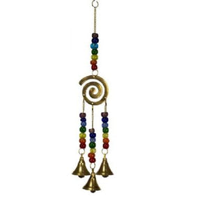 Spiral Hanging Bells with Chakra Beads (approx. 30x6cm)