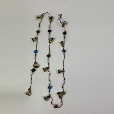 Brass Bells on Colourful String (brass. approx. 105x1.2x1.2cm)
