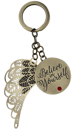 Believe in Yourself Angel Wing Keyring