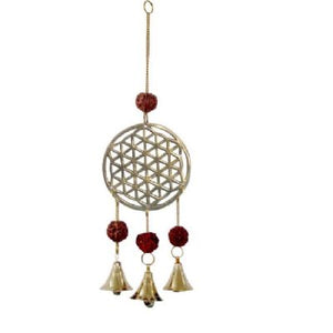 Flower of Life Hanging Bells with Rudraksha (approx. 26x6cm)