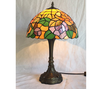 Shades of Orange & Green Tiffany Style Lamp (approx. 41x39cm)