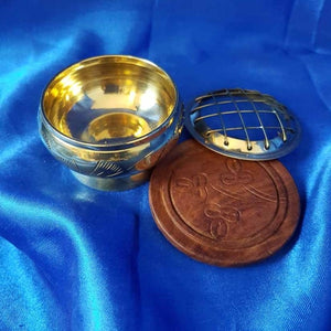 Brass Etched Resin & Incense Burner with Coaster (approx. 5x6x6cm)
