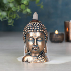 Bronze Look Buddha Head Backflow Incense Burner