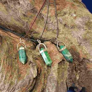Chrysocolla Point Pendant (sterling silver) small