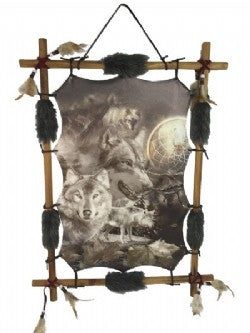 Wolves & Spider Framed With Wood (approx. 56x41cm)