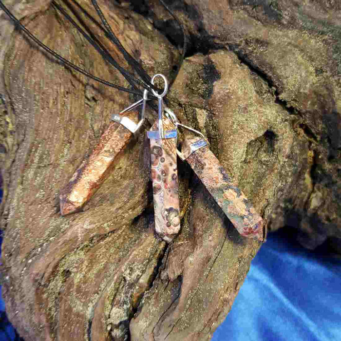 Leopard Jasper Point Pendant (sterling silver)
