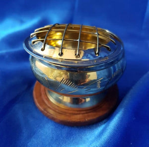 Brass Carved Charcoal Burner with Coaster