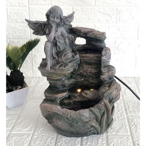 Angel Water Feature (Lights Up. approx. 21x19x34cm)