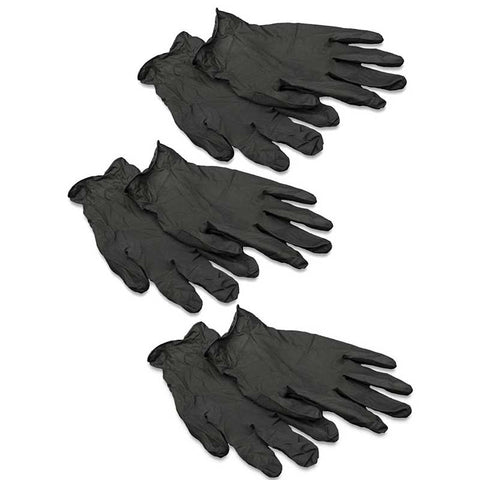 3-Pair Pack Black Pearl Latex Gloves