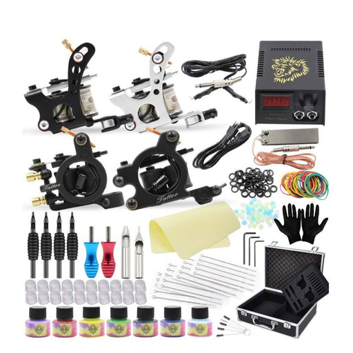 Tattoo Kit Deluxe 2 Liner 2 Shader Coil Machine Startup Set - Bloody Wolf Tattoo Supply