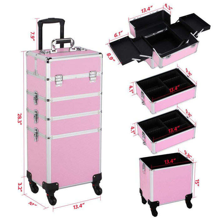 Rolling Travel Case - Pink - Bloody Wolf Tattoo Supply