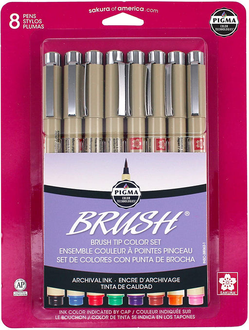 Pigma 8 Piece Brush Pen Set - Bloody Wolf Tattoo Supply