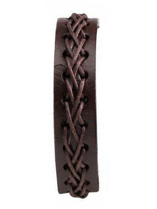 Leather Wrap Bracelet - Brown - Bloody Wolf Tattoo Supply