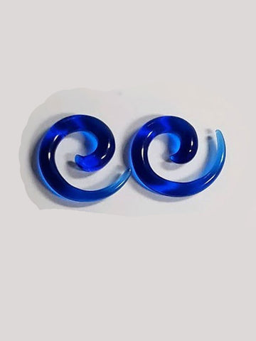 Cobalt Blue Spiral 4g Glass Plugs