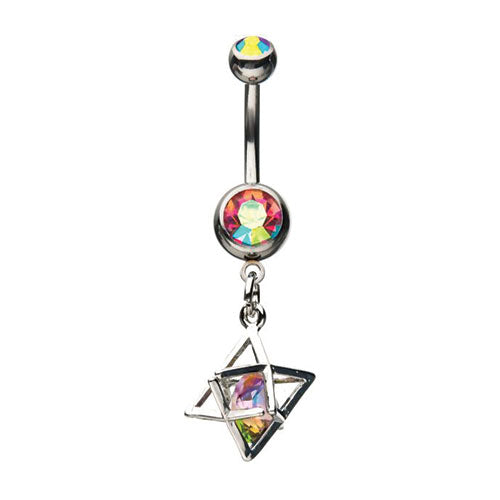 Caged Rainbow Navel Belly Barbell - Bloody Wolf Tattoo Supply