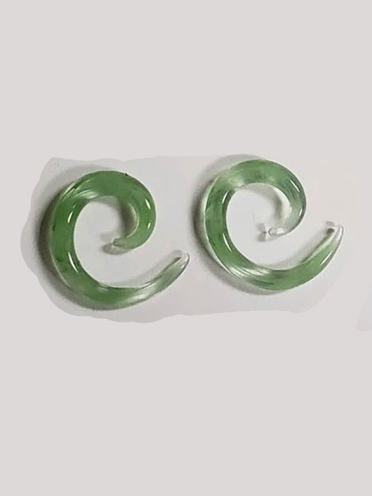 Green Spiral 4g Glass Plugs - Bloody Wolf Tattoo Supply