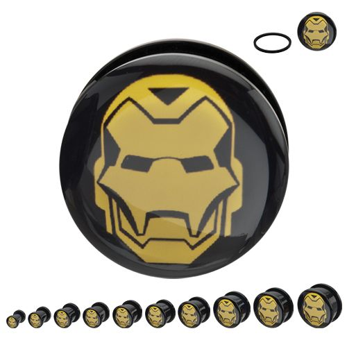Marvel Yellow Iron Man Screw Fit Plugs - Bloody Wolf Tattoo Supply