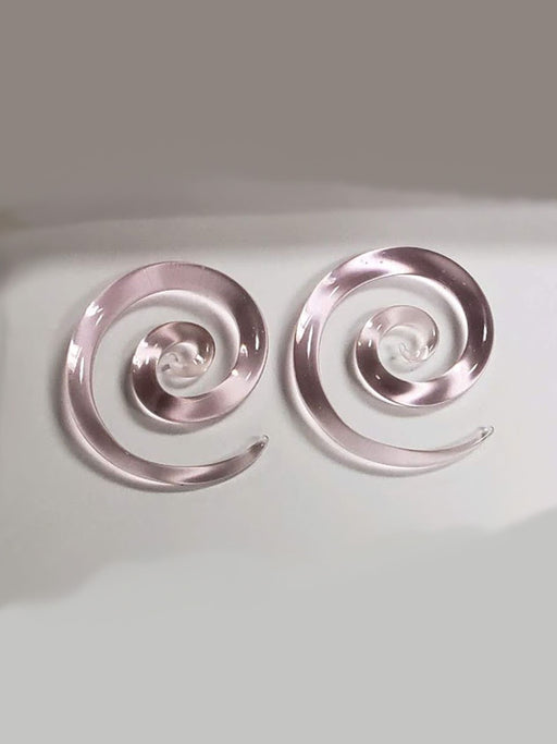 Pink Spiral Glass Plugs - Bloody Wolf Tattoo Supply
