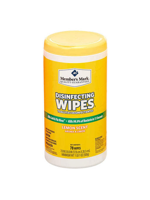 Member's Mark Disinfecting Wipes 78ct Lemon Scent - Bloody Wolf Tattoo Supply